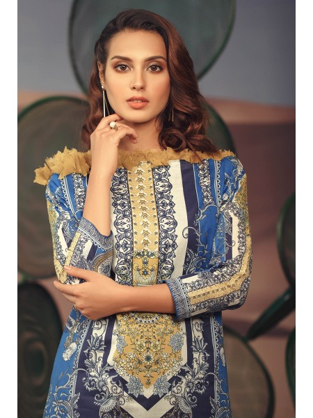 Alkaram Studio SS20 Collection 2 Piece Printed Suit With Dyed Cambric Trouser SS-25-20-Blue