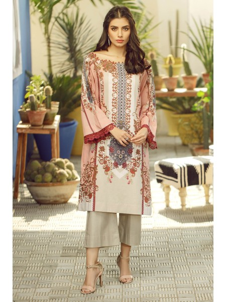 Alkaram Studio SS20 Collection 2 Piece Printed Suit With Dyed Cambric Trouser SS-25-20-Light Pink