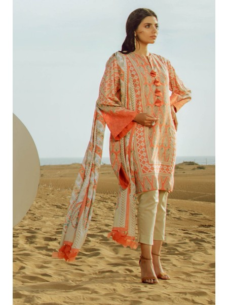Alkaram Studio SS20 Collection 2 Piece Printed Suit With Printed Lawn Dupatta SS-26.1-20-Peach