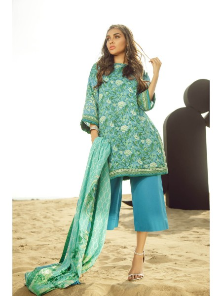 Alkaram Studio SS20 Collection 3 Piece Printed Lawn Suit With Brochia Lawn Dupatta SS-15.1-20-Blue