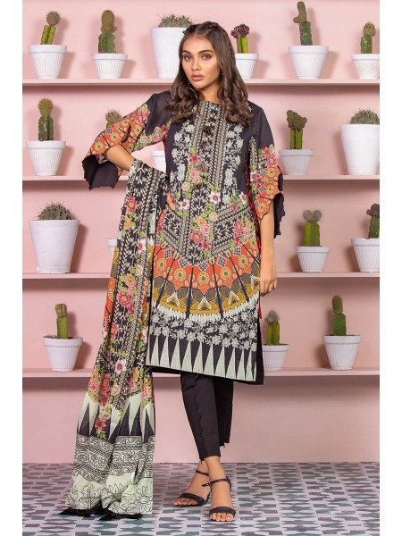 Alkaram Studio SS20 Collection 3 Piece Printed Lawn Suit With Dooria Lawn Dupatta SS-13-20-Black