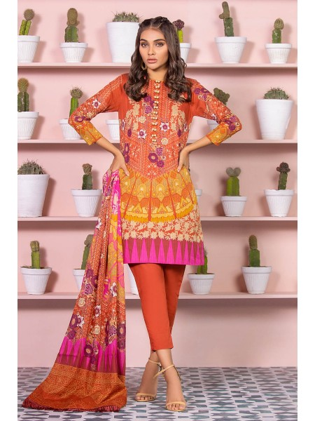 Alkaram Studio SS20 Collection 3 Piece Printed Lawn Suit With Dooria Lawn Dupatta SS-13-20-Rust