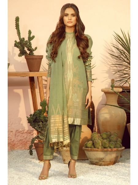 Alkaram Studio SS20 Collection 3 Piece Printed Lawn Suit With Jacquard Dupatta SS-05-20-Sage Green