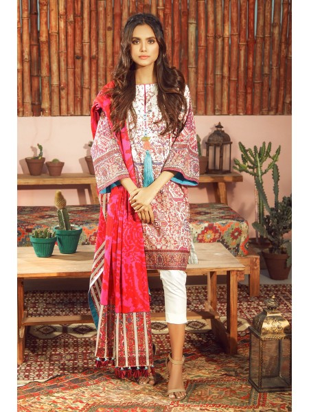 Alkaram Studio SS20 Collection 3 Piece Printed Lawn Suit With Jacquard Net Dupatta SS-11-20-Pink