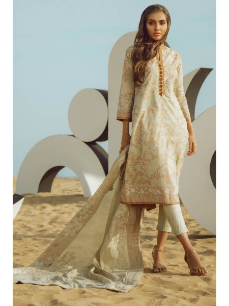 Alkaram Studio SS20 Collection 3 Piece Printed Suit With Jacquard Dupatta SS-3.1-20-Beige