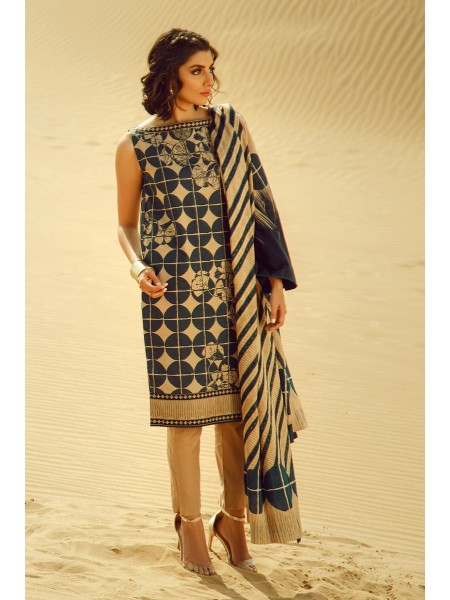 Alkaram Studio SS20 Collection 3 Piece Printed Suit With Jacquard Net Dupatta SS-11.1-20-Blue