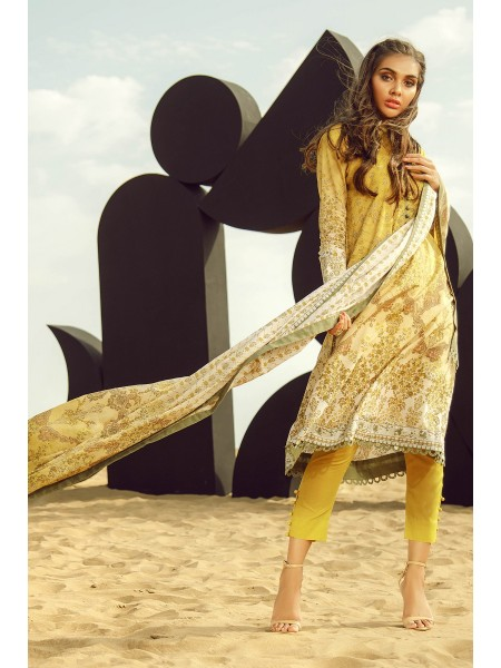 Alkaram Studio SS20 Collection 3 Piece Printed Suit With Lawn Dupatta SS-16.1-20-Mustard