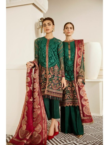 Baroque Embroidered Chiffon Emerald