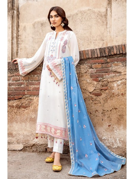Gul Ahmed Summer Lawn20 3 PC Unstitched Embroidered Jacquard Suit with Cotton Net Dupatta MJ-36