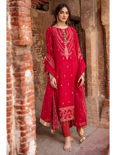Gul Ahmed Summer Lawn20 3 PC Unstitched Embroidered Jacquard Suit with tissue silk dupatta MJ-42