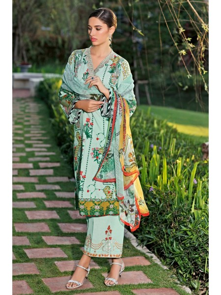 Gul Ahmed Summer Lawn20 3 PC Unstitched Embroidered Lawn Suit with Chiffon Dupatta BM-128