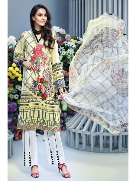 Gul Ahmed Summer Lawn20 3 PC Unstitched Embroidered Lawn Suit with Chiffon Dupatta BM-129