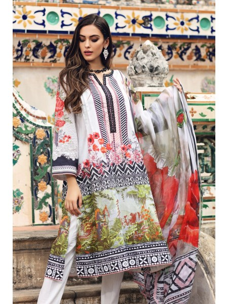 Gul Ahmed Summer Lawn20 3 PC Unstitched Embroidered Lawn Suit with Chiffon Dupatta BM-95