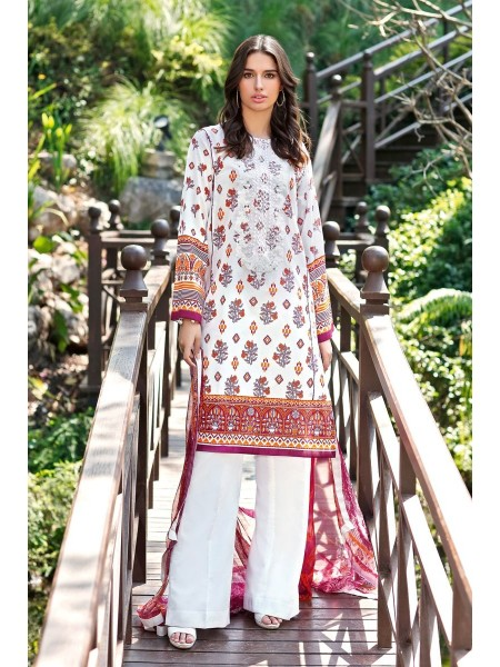 Gul Ahmed Summer Lawn20 3 PC Unstitched Embroidered Lawn Suit with Silk Dupatta AS-19