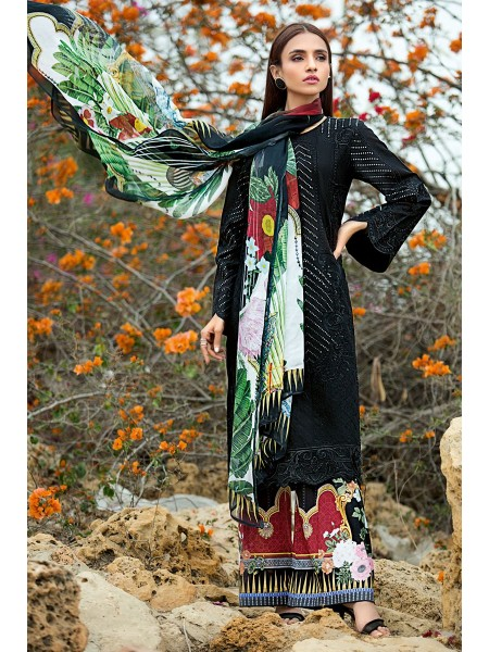 Gul Ahmed Summer Lawn20 3 PC Unstitched Embroidered Lawn Suit with Silk Dupatta SSM-04