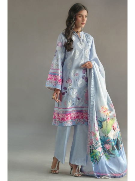 Gul Ahmed Summer Lawn20 3 PC Unstitched Embroidered Lawn Suit with Tissue Silk Dupatta RS-10