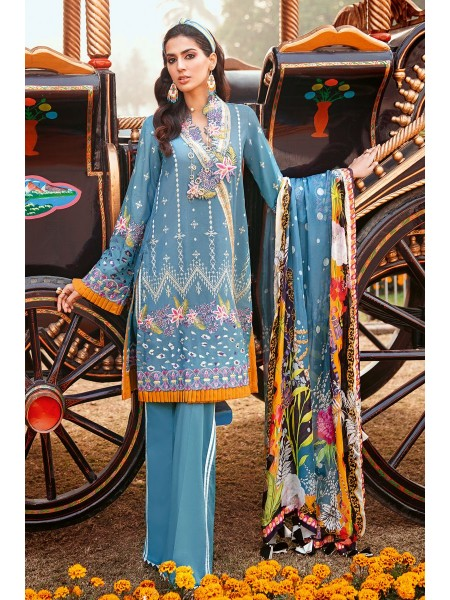 Gul Ahmed Summer Lawn20 3 PC Unstitched Embroidered Lawn Suit with Tissue Silk Dupatta SSM-38