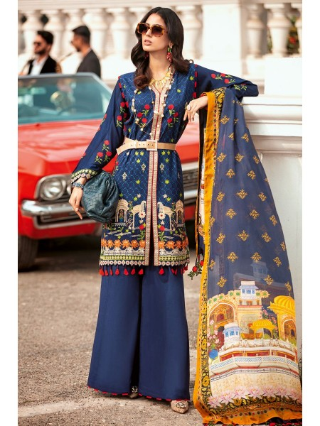Gul Ahmed Summer Lawn20 3 PC Unstitched Embroidered Lawn Suit with Tissue Silk Dupatta SSM-40