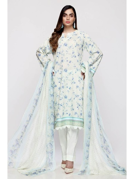 Gul Ahmed Summer Lawn20 3PC Unstitched Embroidered Lawn Suit with Chiffon Dupatta BCT-19