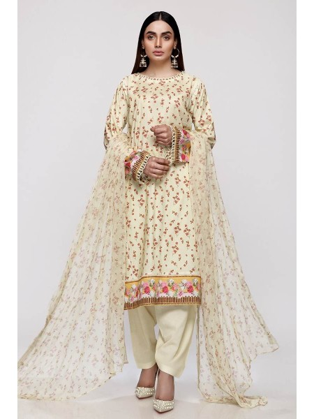 Gul Ahmed Summer Lawn20 3PC Unstitched Embroidered Lawn Suit with Chiffon Dupatta BCT-20