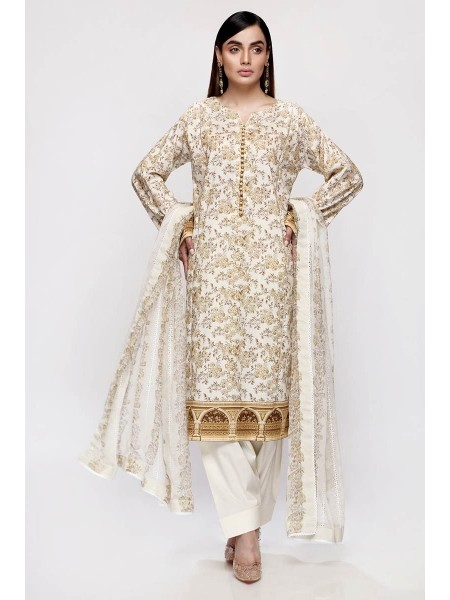 Gul Ahmed Summer Lawn20 3PC Unstitched Embroidered Lawn Suit with Chiffon Dupatta BCT-21
