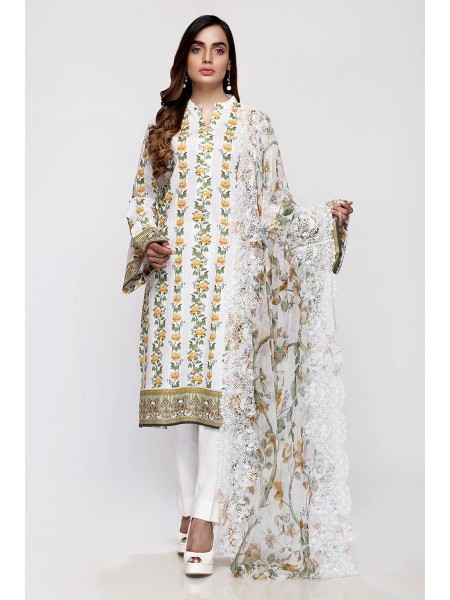 Gul Ahmed Summer Lawn20 3PC Unstitched Embroidered Lawn Suit with Chiffon Dupatta BCT-22