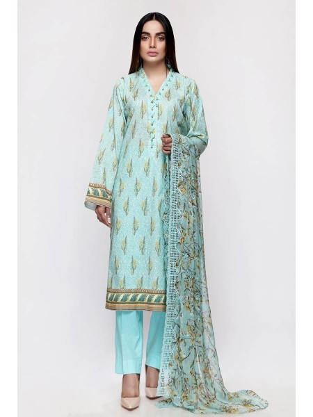 Gul Ahmed Summer Lawn20 3PC Unstitched Embroidered Lawn Suit with Chiffon Dupatta BCT-23