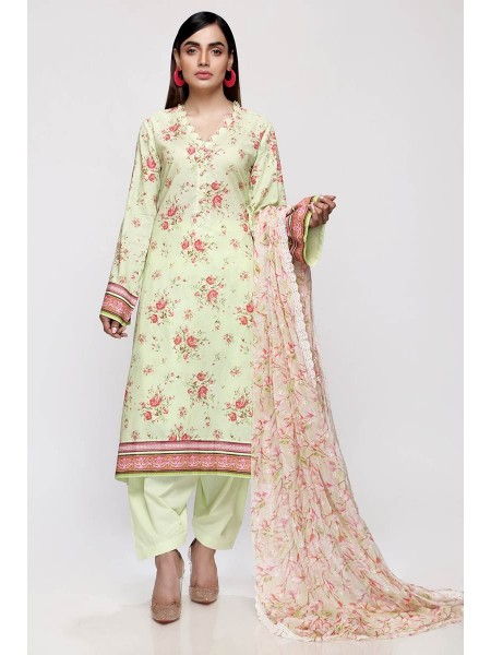 Gul Ahmed Summer Lawn20 3PC Unstitched Embroidered Lawn Suit with Chiffon Dupatta BCT-24
