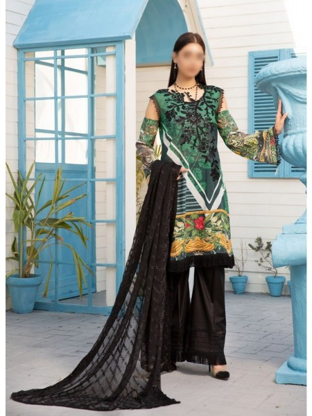 MISCELLANEOUS Bunai digital print and embroidered unstitch swiss lawn suit D-01