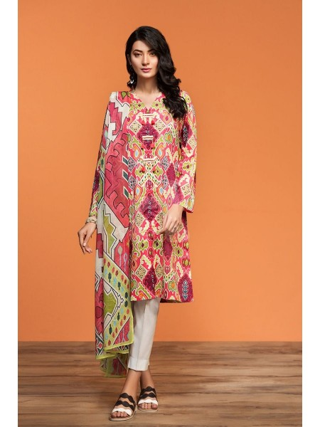 Nishat Linen Spring Summer 20 42001017-Printed Lawn Rib Voil 2PC