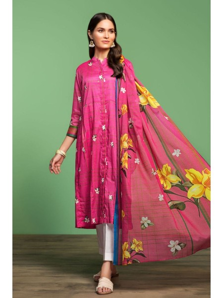 Nishat Linen Spring Summer 20 42001019-Printed Lawn Rib Voil 2PC