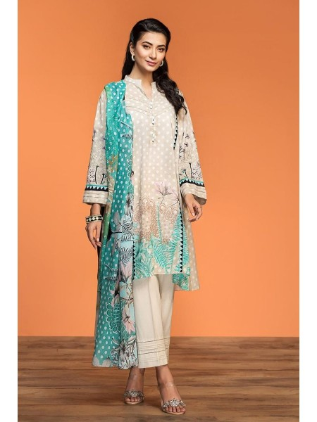 Nishat Linen Spring Summer 20 42001024-Digital Printed Embroidered Lawn Rib Voil 2PC