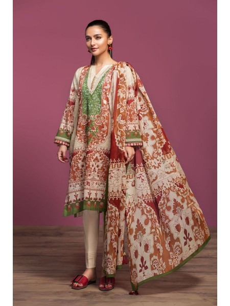 Nishat Linen Spring Summer 20 42001026-Digital Printed Lawn Rib Voil 2PC