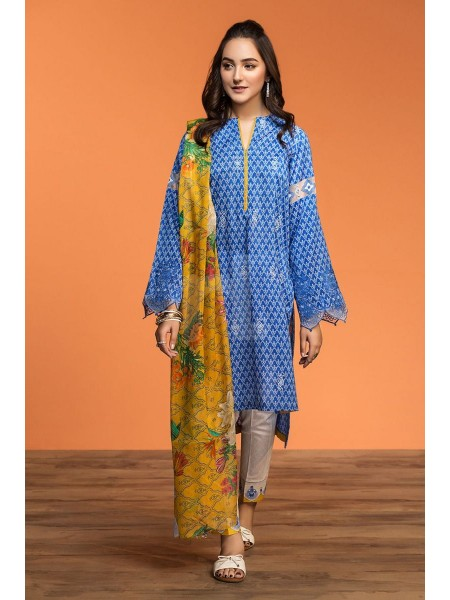 Nishat Linen Spring Summer 20 42001039-Printed Embroidered Lawn, Cambric Rib Voil 3PC
