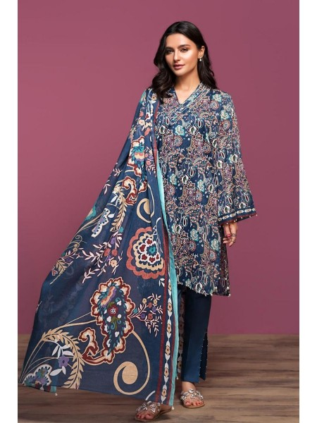 Nishat Linen Spring Summer 20 42001054-Printed Lawn, Cambric Voil 3PC