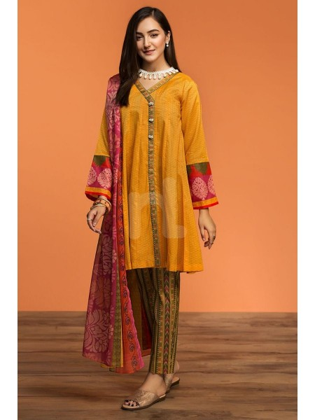 Nishat Linen Spring Summer 20 42001055-Printed Lawn, Cambric Rib Voil 3PC