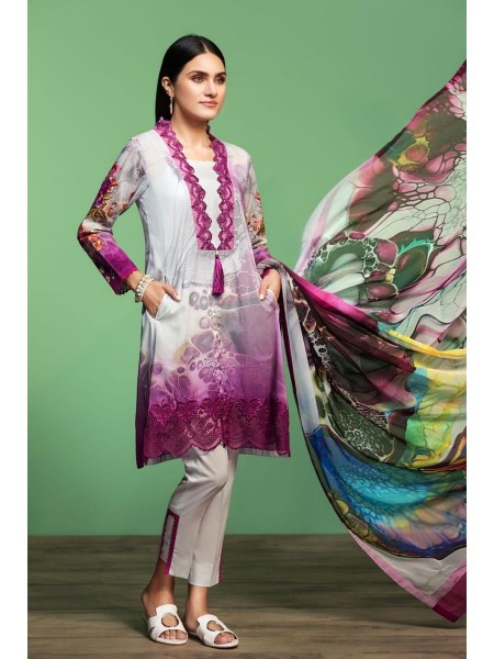 Nishat Linen Spring Summer 20 42001061-Digital Printed Embroidered Lawn, Cambric Chiffon 3PC