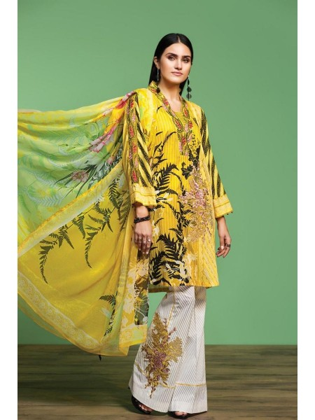 Nishat Linen Spring Summer 20 42001068-Digital Printed Embroidered Lawn, Cambric Chiffon 3PC