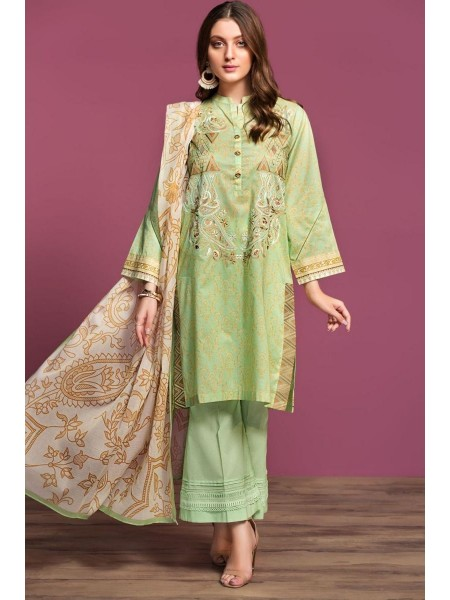 Nishat Linen Spring Summer 20 42001084-Digital Printed Embroidered Lawn, Cambric Rib Voil 3PC