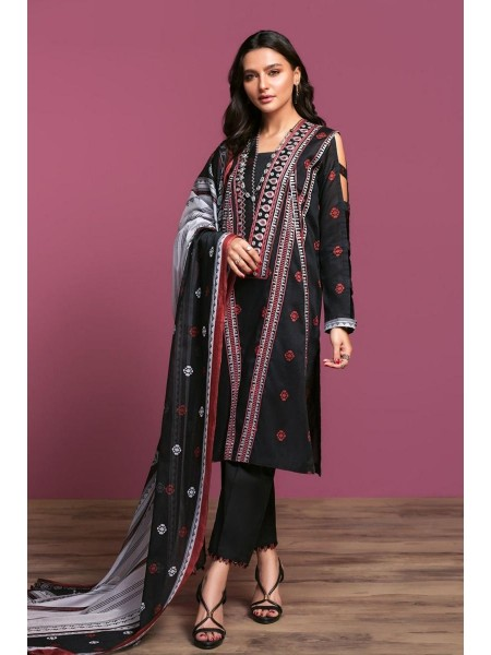 Nishat Linen Spring Summer 20 42001087-Printed Embroidered Lawn, Cambric Rib Voil 3PC