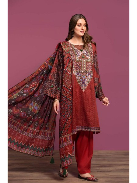 Nishat Linen Spring Summer 20 42001090-Printed Embroidered Lawn, Cambric Rib Voil 3PC