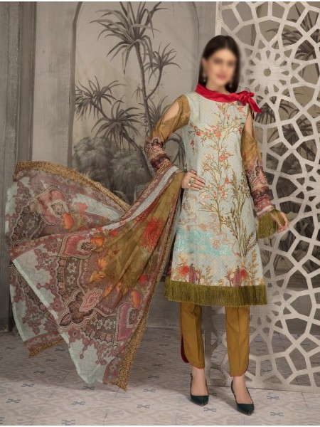 SHAISTA Aafreen Lawn Print Broshia unstitch Embroidered Collection D-A 342