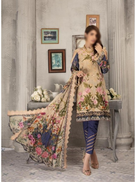 SHAISTA Aafreen Lawn Print Broshia unstitch Embroidered Collection D-A 343