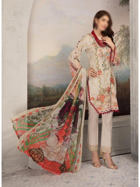 SHAISTA Aafreen Lawn Print Broshia unstitch Embroidered Collection D-A 345