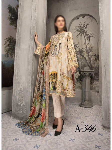 SHAISTA Aafreen Lawn Print Broshia unstitch Embroidered Collection D-A 346