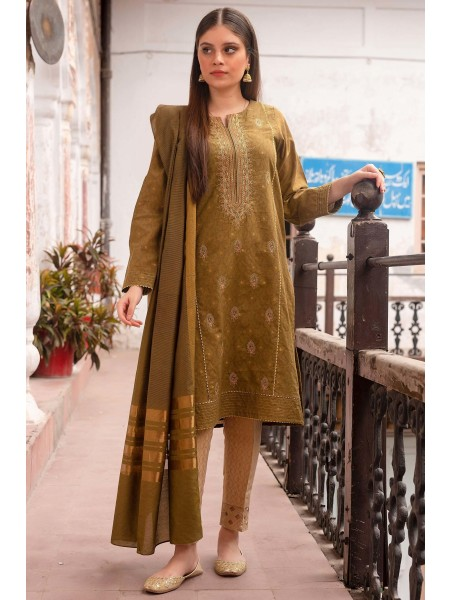 Zeen Woman Luxury Pret Stitch 2 Piece Embroidered Jacquard Suit WZK29401-Olive-Green