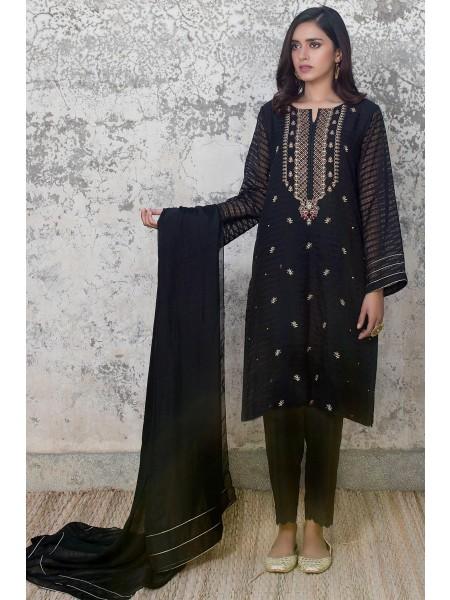 Zeen Woman Luxury Pret Stitch 2 Piece Embroidered Staple Organza Suit WZK29407-Black