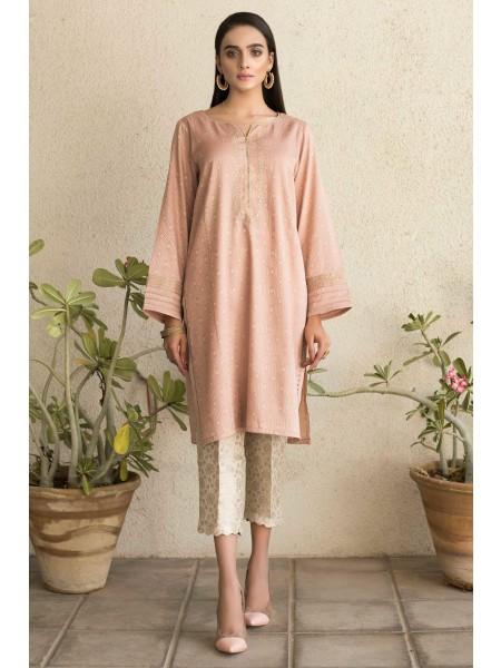Zeen Woman Luxury Pret Stitched 1 Piece Embroidered Jamawar Shirt WZK19427-Tea-Pink