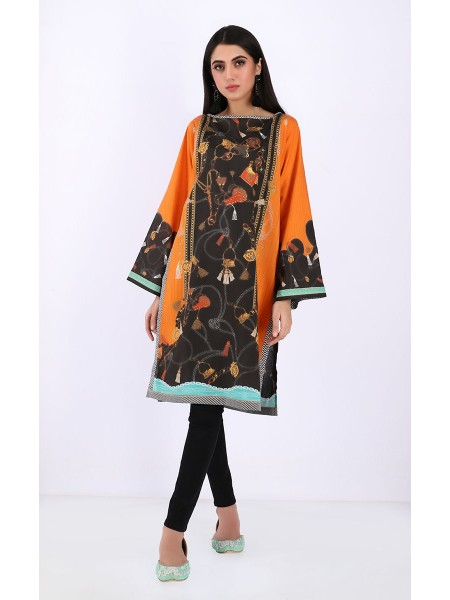 Zellbury Luxury pret Kurta - Crusta Orange - Khaddar ZWZP119536-Multi