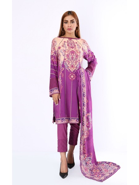 Zellbury Luxury pret Kurta - Dark Purple - CAMBRIC ZWZPE19506-Multi